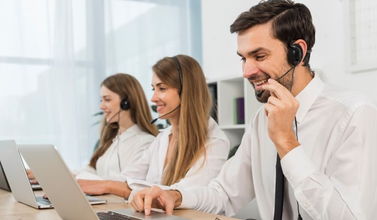 Customer care reps on phones