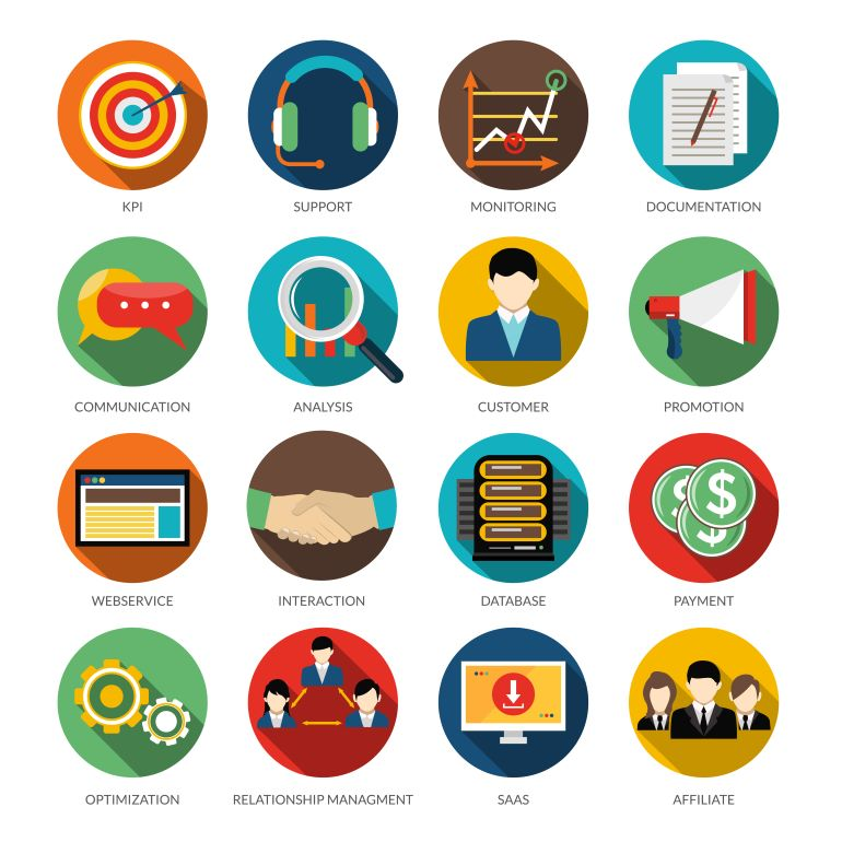 Different benefits of CRM listed as icons