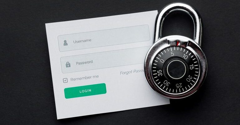 Login form, with lock next to it
