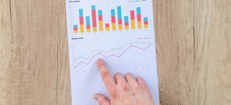 A person's finger pointing at a paper with graphs and statistics.