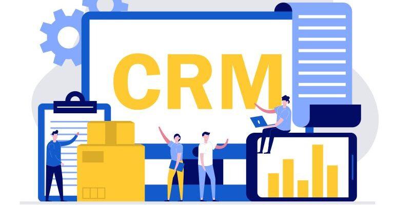 Mobile CRM illustration.