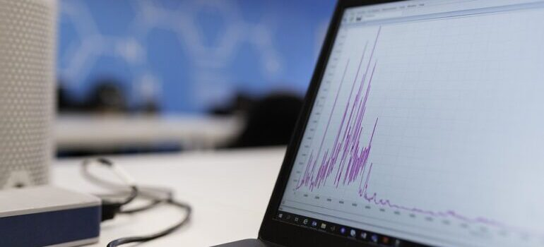 A laptop screen that shows a flactuating graph.