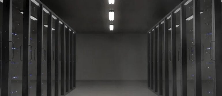 A black room full of servers.