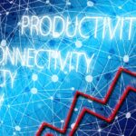 A red upward arrow next to productivity-related terms - essential work productivity tips