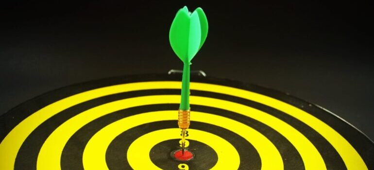 A green dart at the center of a target.