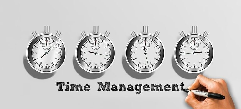"""An illustration of 4 stopwatches that reads """"time management""""."""