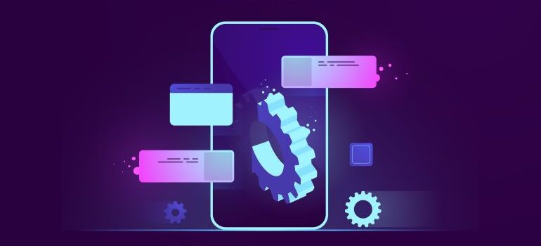 Vector image of smart phone with development elements.