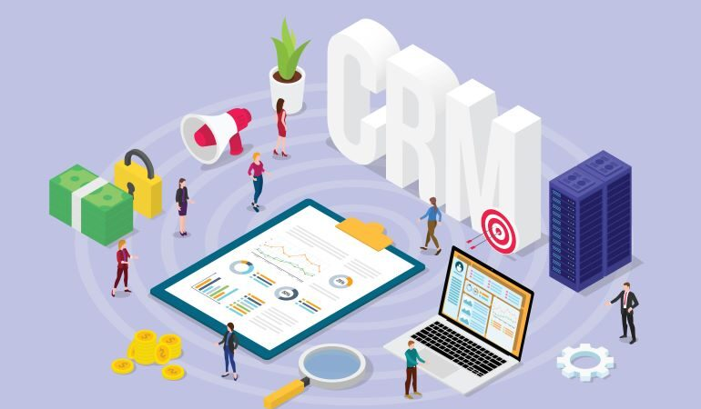 CRM concept with team of people and financial admin tasks.
