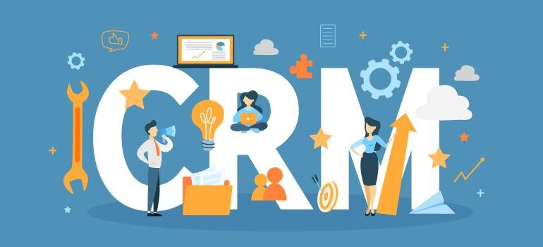A team of people working on CRM solution.