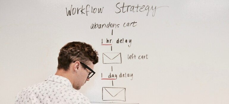A person outlining a workflow strategy.