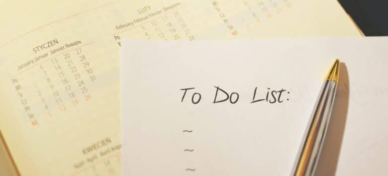 A To Do list placed next to a calendar.