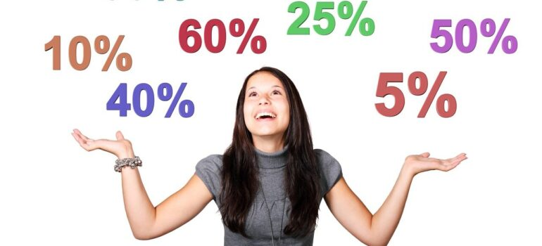 A girl smiling over percenages showing offers.