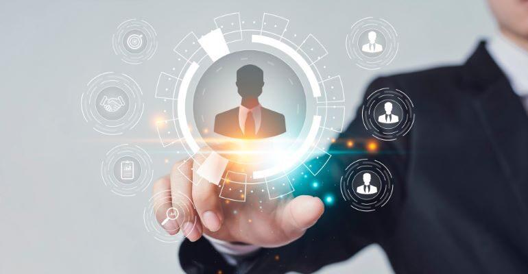 Businessman clicking on customer profile icon