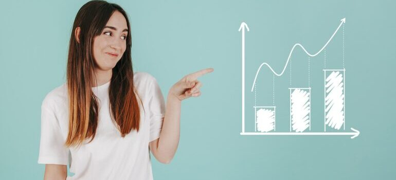 A woman pointing at a chart.