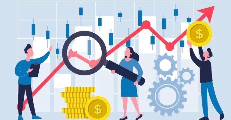 An illustration of people doing market analysis