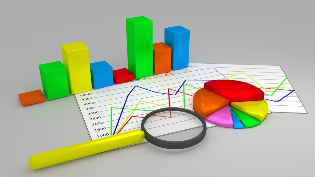 A 3D illustration of different types of reporting charts.