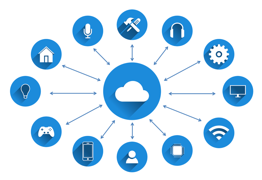 An illustration showing a Cloud icon in the middle, surrounded with various icons representing different business areas.