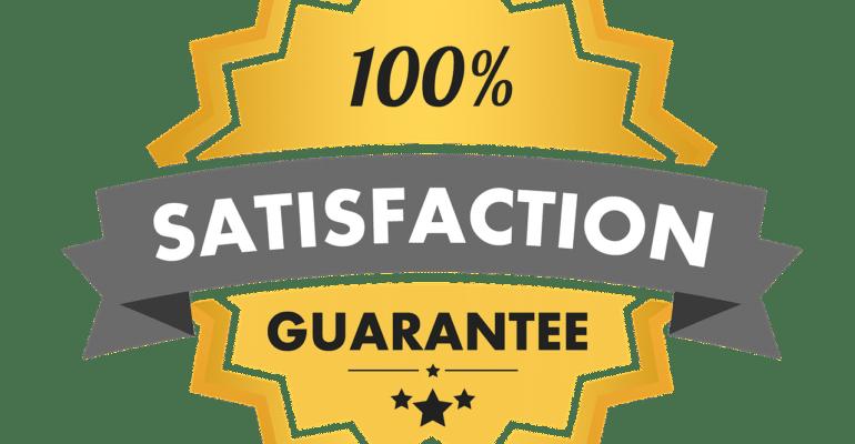 A badge showing 100% satisfaction guaranteed.