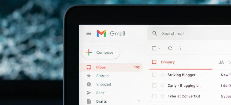 A Gmail inbox.